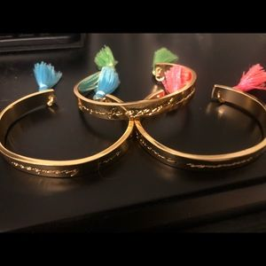 Lilly Pultizer set of 3 gold bangles with tassels